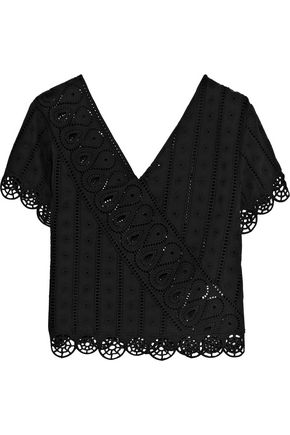 OPENING CEREMONY Wrap-effect broderie anglaise cotton top