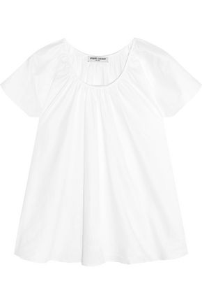 OPENING CEREMONY Gathered cotton-blend sateen top