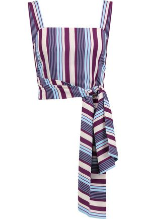 ALEXIS Sena striped silk wrap top