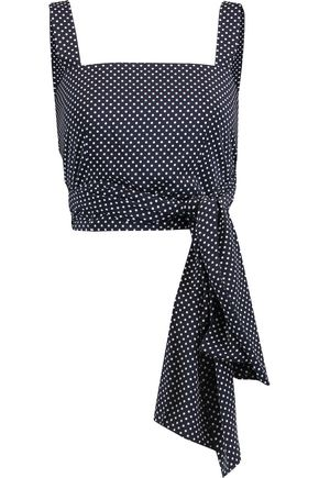 ALEXIS Sena polka-dot crepe de chine wrap top
