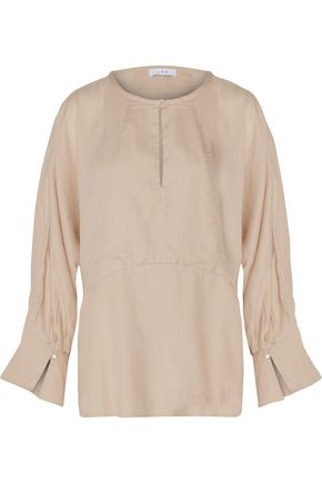 IRO Abeille flared washed-crepe top