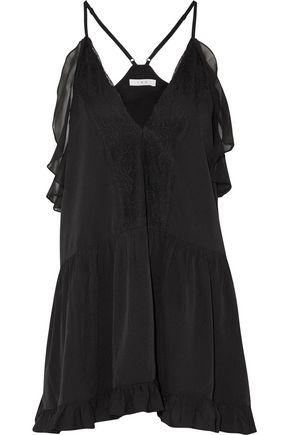 IRO Bellie lace-paneled ruffled crepe de chine top