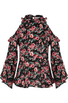 IRO Eloane cold-shoulder ruffled floral-print silk crepe de chine top