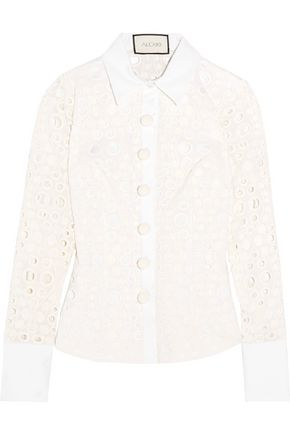 ALEXIS Zan embellished broderie anglaise cotton-blend shirt