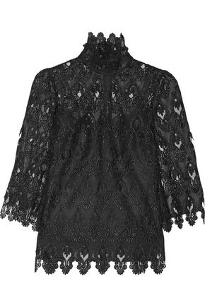 DOLCE & GABBANA Crocheted lace turtleneck top