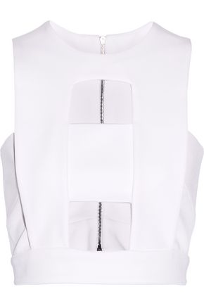 CUSHNIE ET OCHS Cutout stretch-jersey top