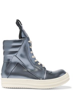 RICK OWENS Metallic leather high-top sneakers