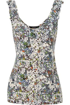 SUNO Printed silk-crepe top