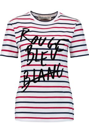 ÊTRE CÉCILE Rouge Bleu Blanc flocked striped cotton T-shirt
