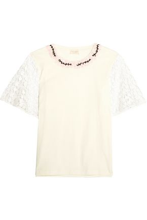 GIAMBATTISTA VALLI Guipure lace-trimmed embellished cotton-jersey top