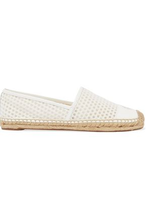TORY BURCH Grenada leather-paneled mesh espadrilles