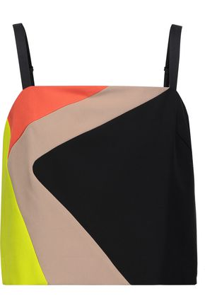 MILLY Cropped color-block cady top