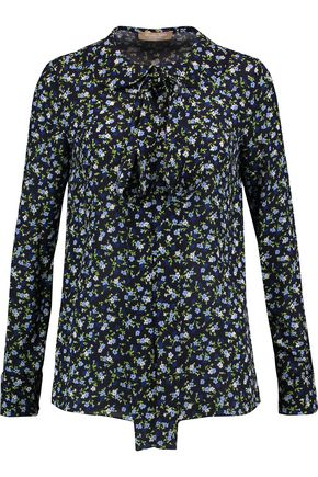 MICHAEL KORS COLLECTION Pussy-bow floral-print silk-crepe blouse