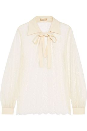 MICHAEL KORS COLLECTION Pussy-bow corded lace top