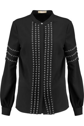 MICHAEL KORS COLLECTION Eyelet-embellished crepe top