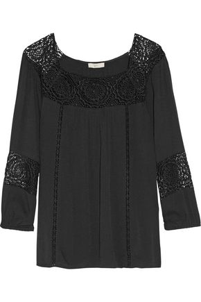 JOIE Bellange lace-paneled cady top