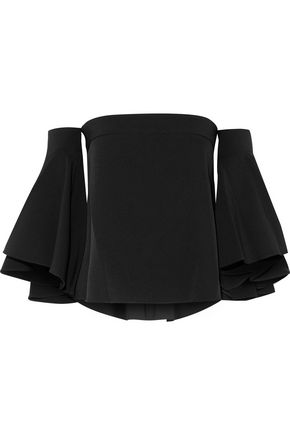 MILLY Rosa off-the-shoulder ruffled cady top