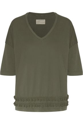 CURRENT/ELLIOTT Pom pom-embellished cotton-jersey T-shirt