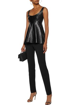 Milly Tops MILLY WOMAN LOGAN ASYMMETRIC PLEATED LEATHER TOP BLACK