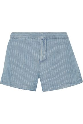 JOIE Merci striped linen-blend shorts