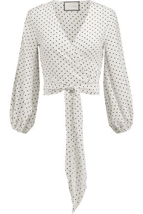 ALEXIS Nirav polka-dot crepe de chine wrap top