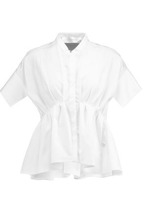 VICTORIA, VICTORIA BECKHAM Gathered cotton-poplin blouse