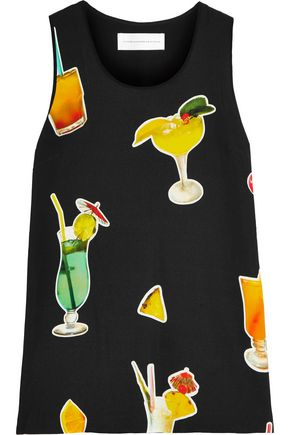 VICTORIA, VICTORIA BECKHAM Printed stretch-satin crepe top
