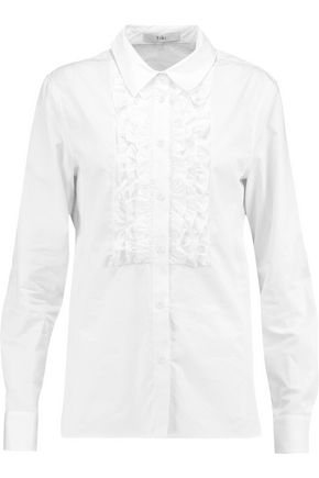 TIBI Ruffle-trimmed cotton-poplin shirt ...