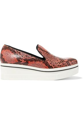STELLA McCARTNEY Faux snake-effect leather slip-on sneakers