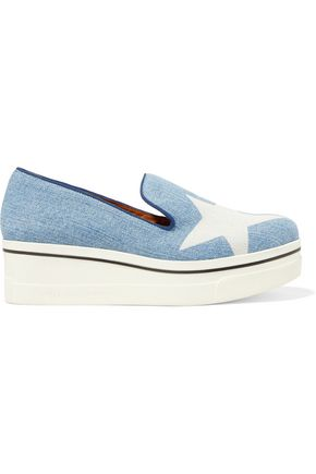 STELLA McCARTNEY Denim wedge sneakers