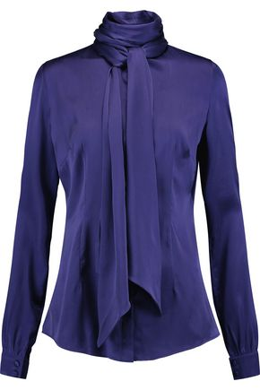 SAFIYAA Pussy-bow washed-silk blouse