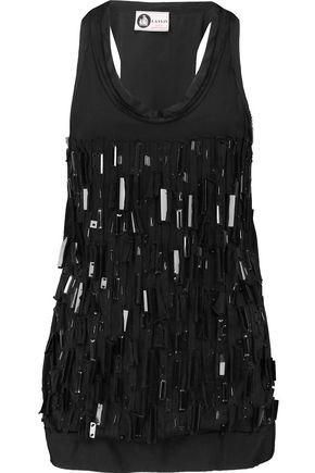 LANVIN Embellished silk-satin and cotton-jersey tank