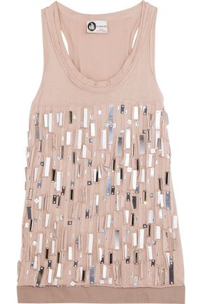 LANVIN Embellished cotton-jersey top