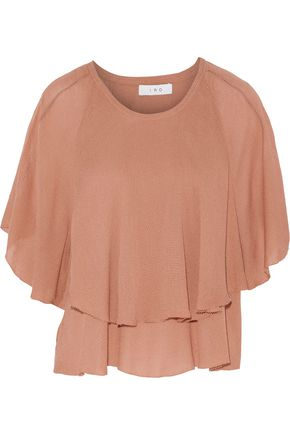 IRO Layered textured-gauze top