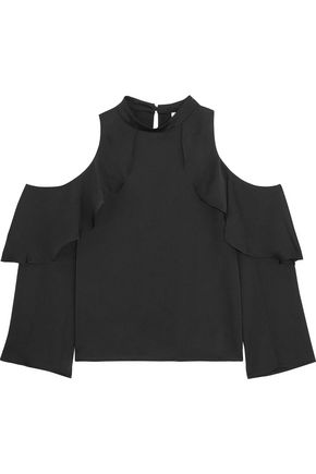 IRIS & INK Luna cold-shoulder crepe top