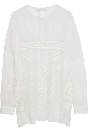IRO Fringed-trimmed embroidered chiffon top