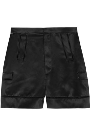 GIVENCHY Shorts with cutout detail in black silk-satin