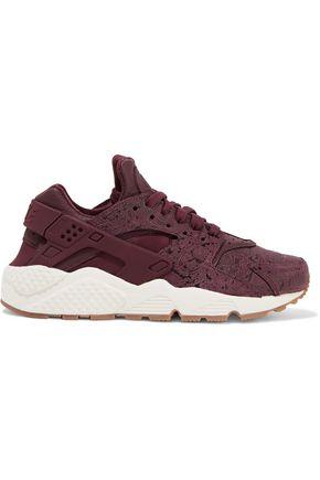 NIKE Air Huarache Run embossed leather and mesh sneakers