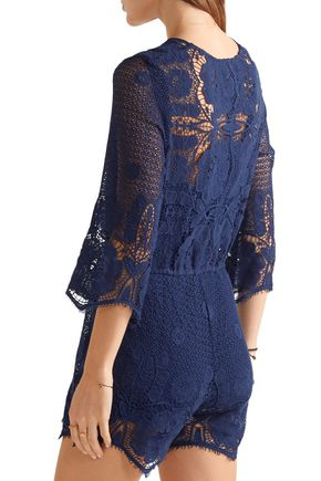 MIGUELINA Greta crocheted cotton-lace playsuit