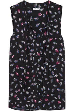 SPLENDID Pussy-bow printed crepe blouse