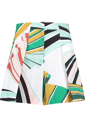 EMILIO PUCCI Pleated printed cotton-blend shorts