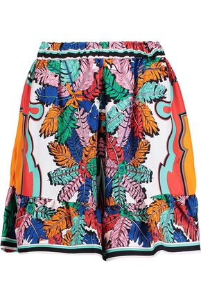 EMILIO PUCCI Ruffle-trimmed printed silk-twill mini skirt