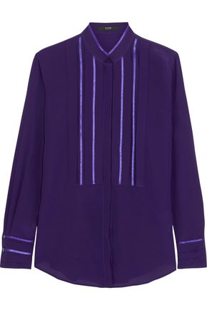 ETRO Satin-trimmed silk-crepe blouse