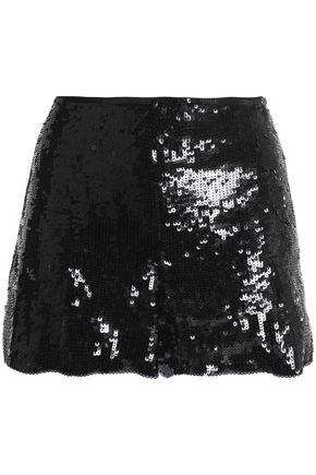 ALICE+OLIVIA Sherri sequined silk-chiffon shorts