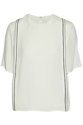 3.1 PHILLIP LIM Pleated embroidered silk crepe de chine top
