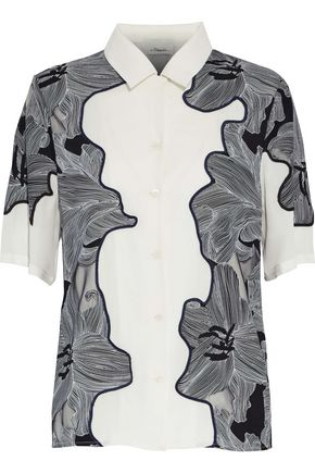 3.1 PHILLIP LIM Printed silk and mesh applique top
