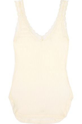 HELMUT LANG Lace-trimmed ribbed cotton-jersey tank
