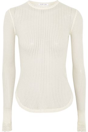 HELMUT LANG Lace-trimmed ribbed open-knit cotton top