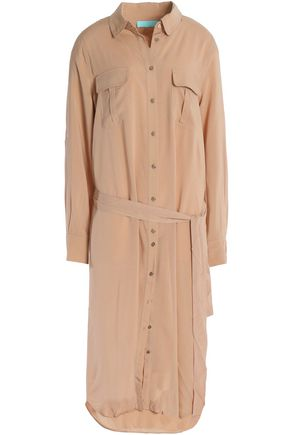 MELISSA ODABASH Maryanne belted brushed-jersey midi shirt dress