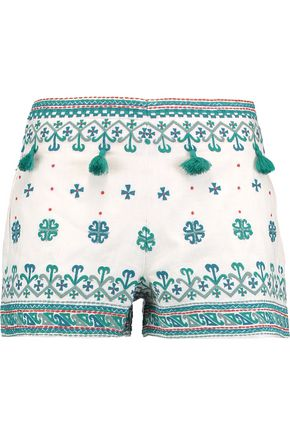 TALITHA Anya tassel-trimmed embroidered cotton shorts